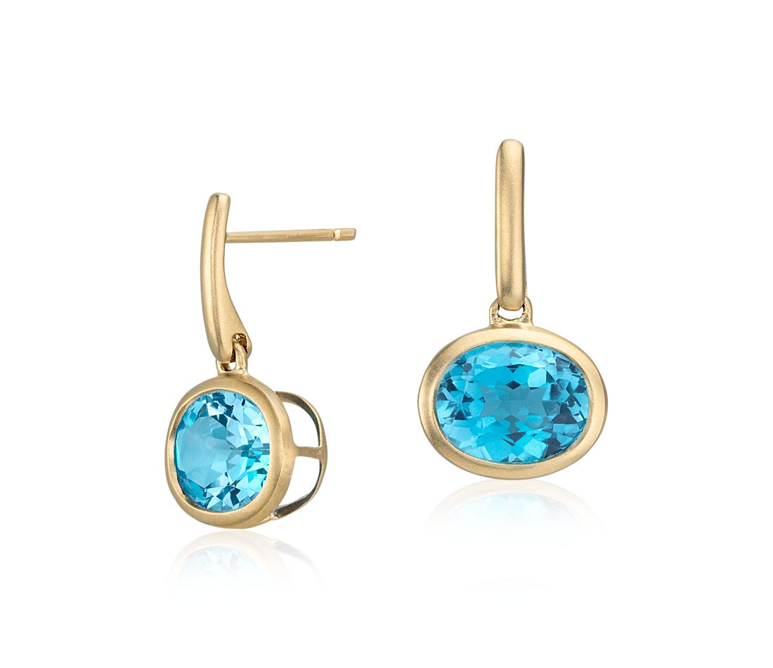 Blue Topaz Drop Earrings in 14k Yellow Gold (10x8mm)