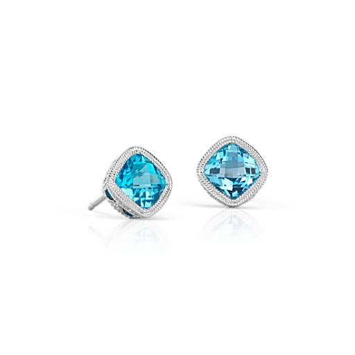Blue Topaz Cushion Milgrain Stud Earrings in Sterling Silver (6mm)
