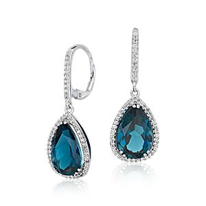 NEW London Blue Topaz Halo Drop Earrings in Sterling Silver (14x9mm)