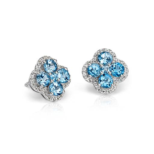 Blue Topaz Halo Clover Earrings in Sterling Silver