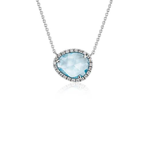 Sky Blue Topaz and Diamond Halo Necklace in 14k White Gold