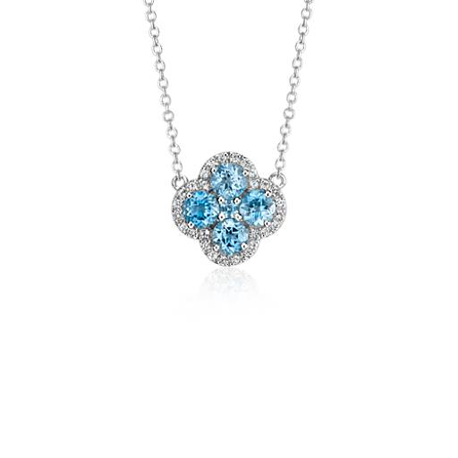 Blue Topaz Halo Clover Necklace in Sterling Silver