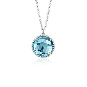 Blue Topaz and Diamond Halo Pendant in 14k White Gold (12mm)