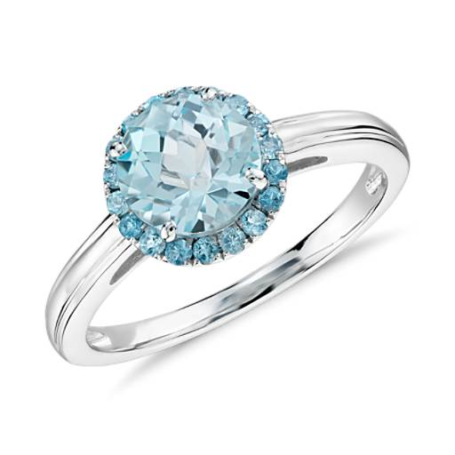 Bague halo topaze bleue en or blanc 14 carats (7 mm)