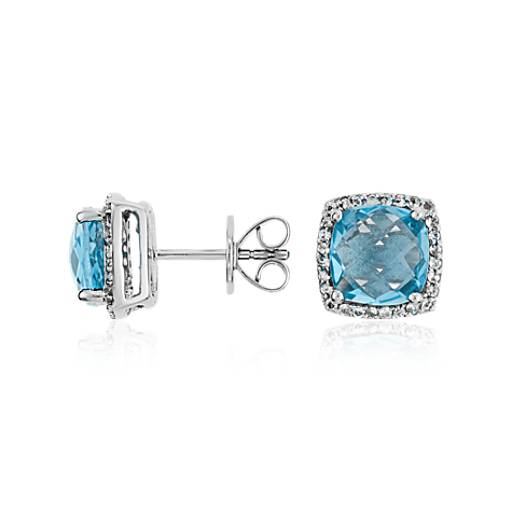 Blue Topaz Halo Stud Earrings in Sterling Silver