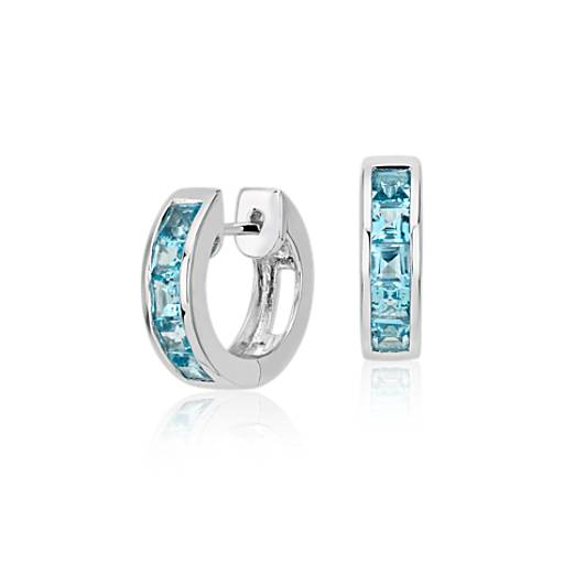 Blue Topaz Hinged Hoop Earrings in Sterling Silver (3mm)