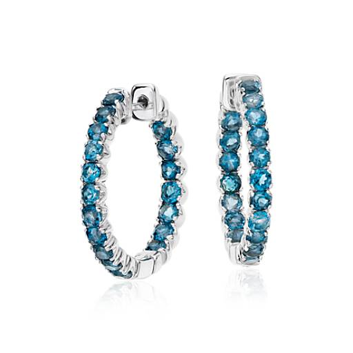 London Blue Topaz Hoop Earrings in Sterling Silver