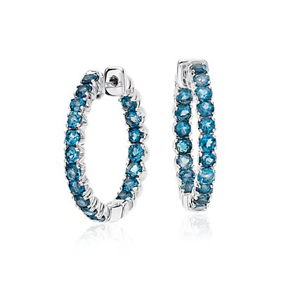 London Blue Topaz Hoop Earrings in Sterling Silver (2.5mm)