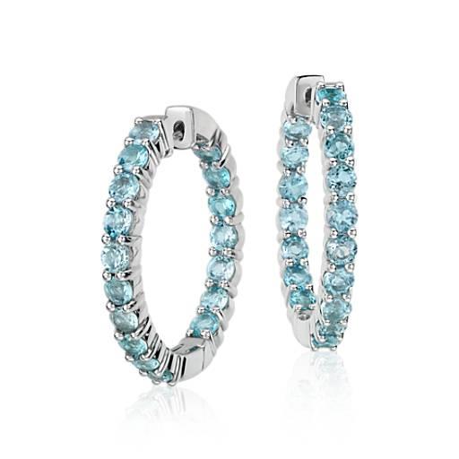 Swiss Blue Topaz Hoop Earrings in Sterling Silver (3mm)