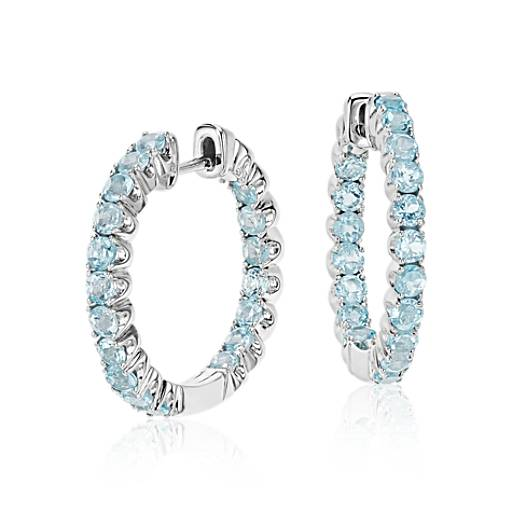 NEW Swiss Blue Topaz Hoop Earrings in Sterling Silver (2.5mm)