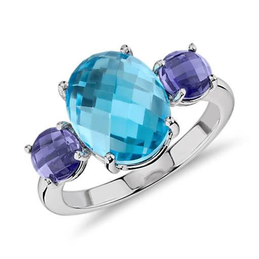 Blue Topaz and Iolite Faceted Cabochon Ring in 14K White Gold (11x9mm)