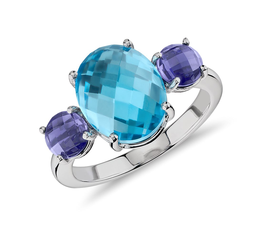 Blue Topaz and Iolite Faceted Cabochon Ring in 14K White Gold