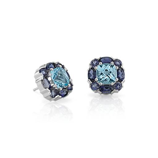 Blue Topaz and Iolite Cluster Earrings in 14k White Gold (7x7mm)
