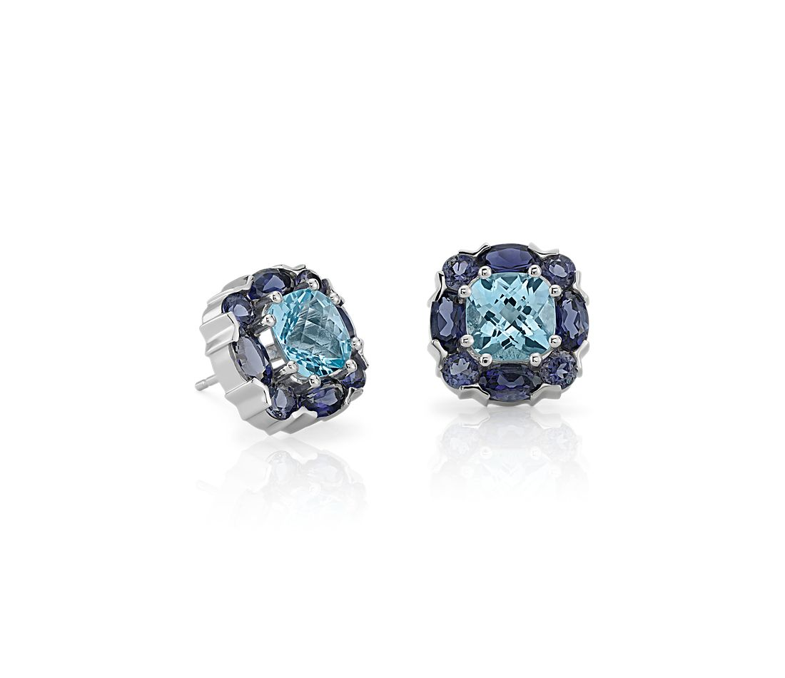 Blue Topaz and Iolite Cluster Earrings in 14k White Gold