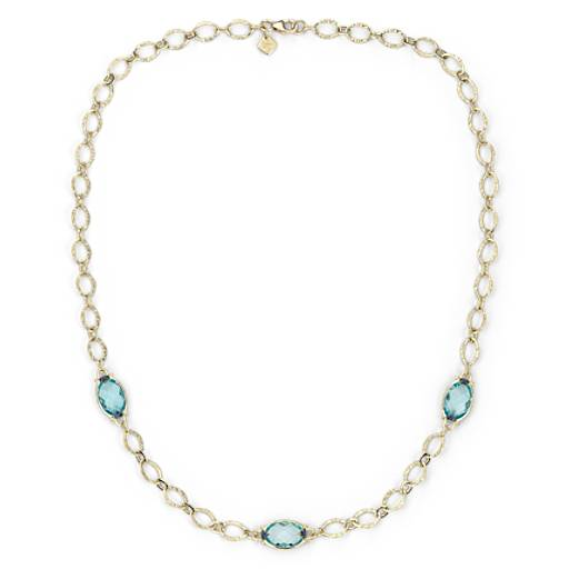 Blue Topaz Necklace in 18k Yellow Gold (12x8mm)