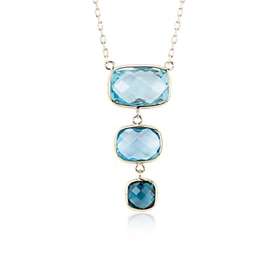 NEW Blue Topaz Ombre Drop Necklace in 14k Yellow Gold
