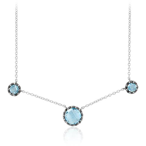 Blue Topaz and Diamond Halo Necklace in 14k White Gold