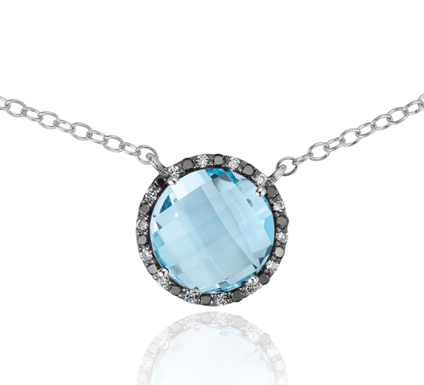 Collier halo diamant et topaze bleue Robert Leser en or blanc 14 carats