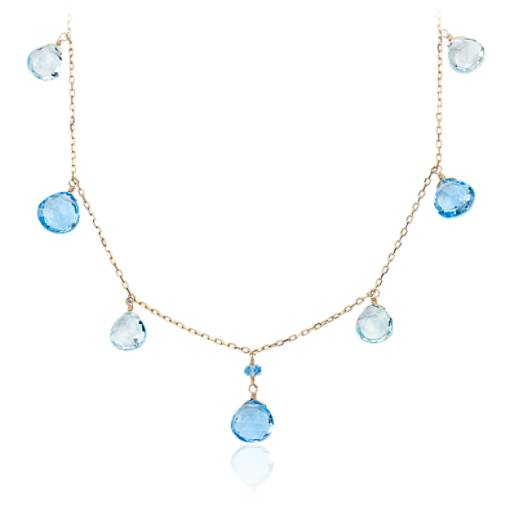 Blue Topaz Statement Necklace in 14k Yellow Gold (7.5x7mm)