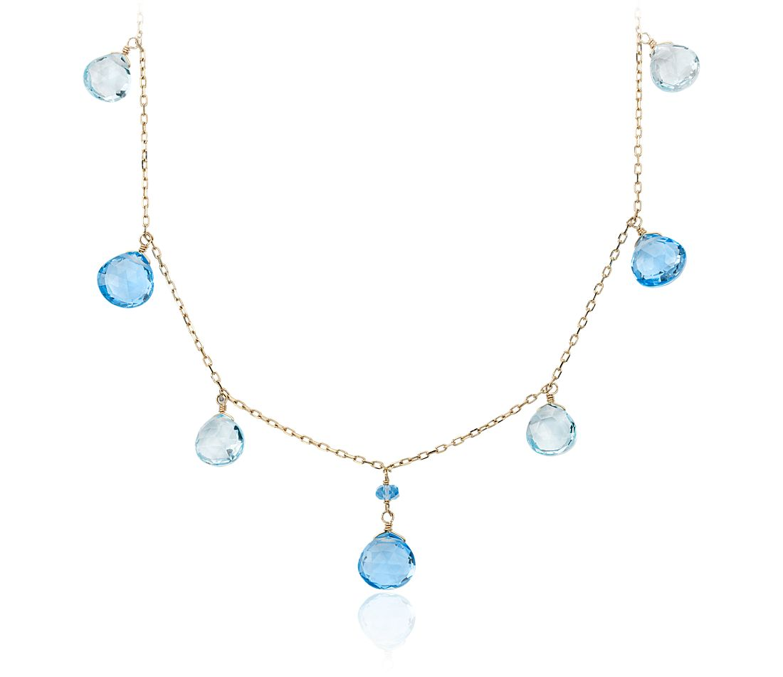 Blue Topaz Statement Necklace in 14k Yellow Gold