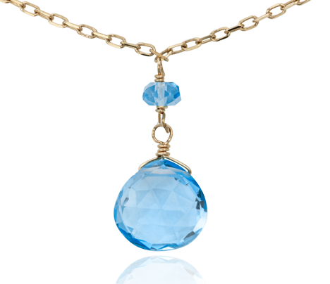 Collier surdimensionné topaze bleue en or jaune 14 carats (7,5 x 7 mm)