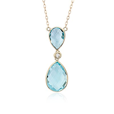 NUEVO. Blue Topaz Pear Drop and Collar de diamante in oro amarillo de 14 k (10x5mm)