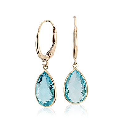 NEW Blue Topaz Pear Aretes colgantes in oro amarillo de 14 k (12x8mm)
