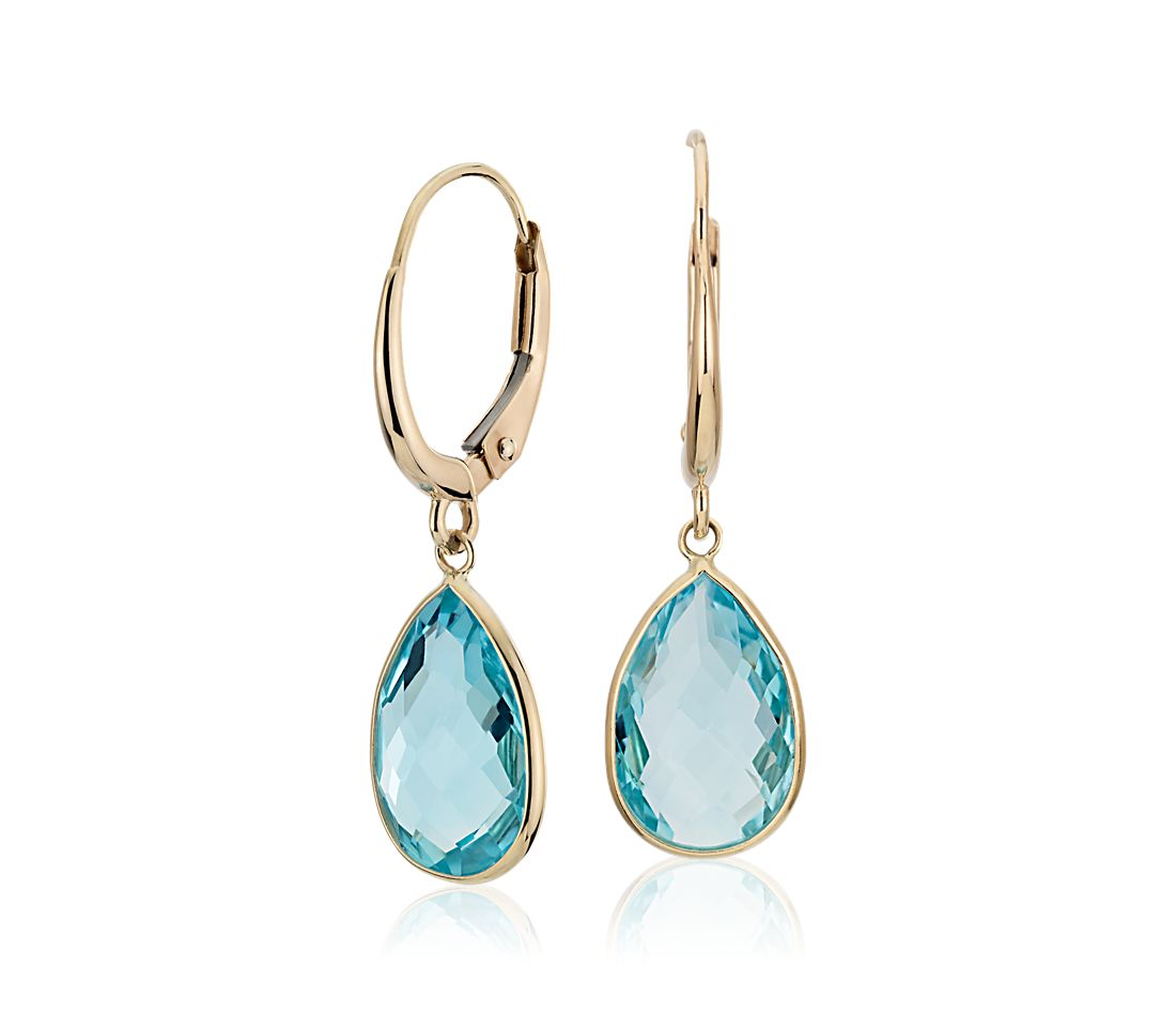 blue topaz pear drop earrings in 14k yellow gold 12x8mm