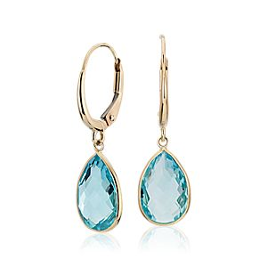 NEW Blue Topaz Pear Drop Earrings in 14k Yellow Gold (12x8mm)