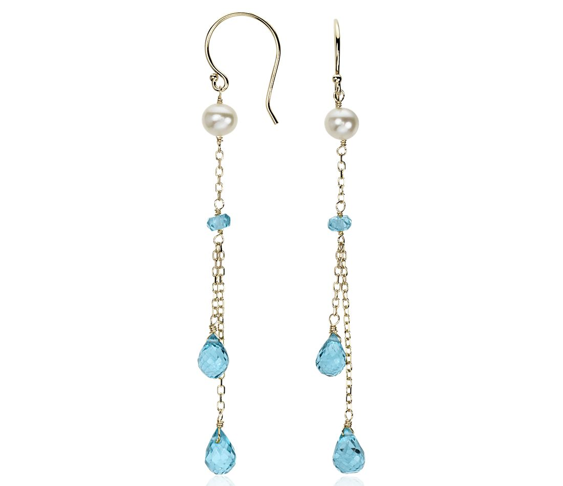 Blue Topaz and Freshwater Pearl Chandelier Earrings in 14k Yellow Gold