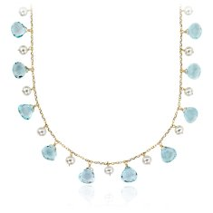 Blue Topaz and Freshwater Pearl Statement Necklace in 14k Yellow Gold