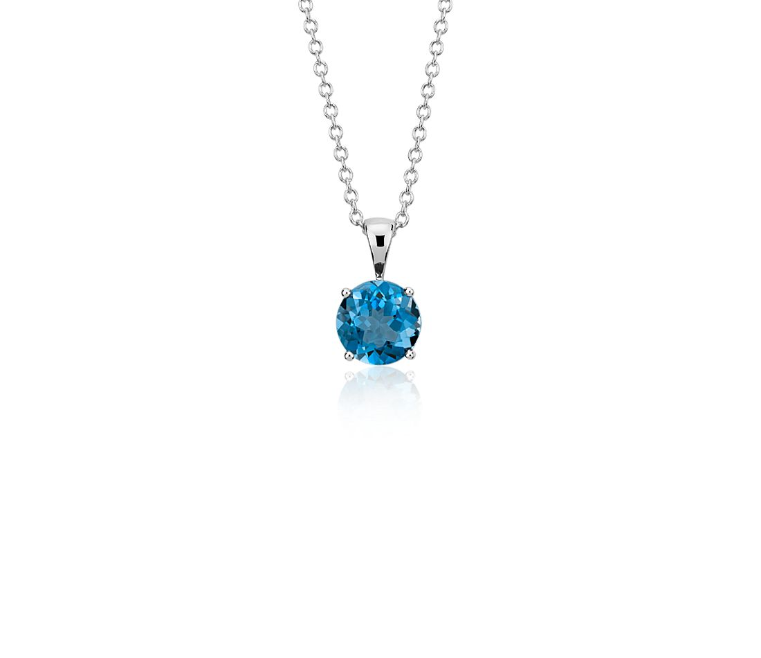 London Blue Topaz Solitaire Pendant in 18k White Gold (7mm)