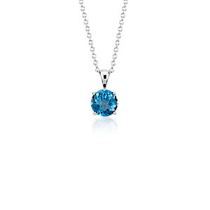 NEW London Blue Topaz Solitaire Pendant in 14k White Gold (7mm)