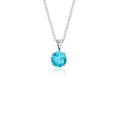 NEW Blue Topaz Solitaire Pendant in 14k White Gold (7mm)
