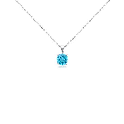 Blue Topaz Solitaire Pendant in 18k White Gold (7mm)