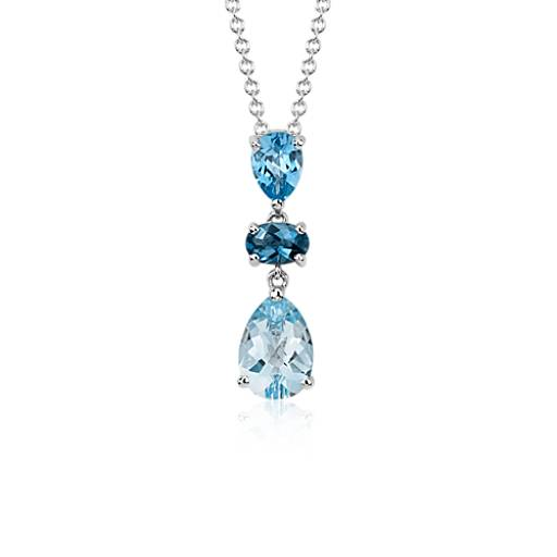 Blue Topaz Pendant in 14k White Gold