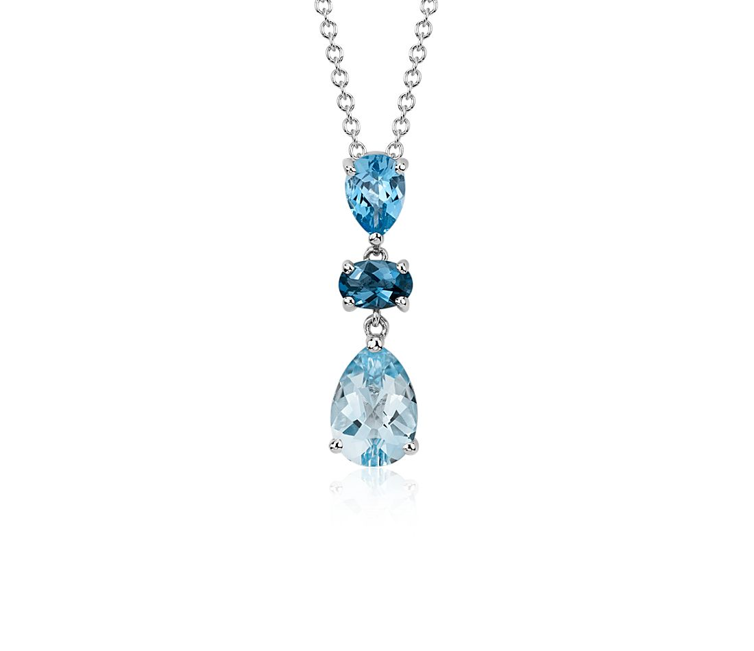 Blue Topaz Pendant in 14k White Gold (10x7mm)