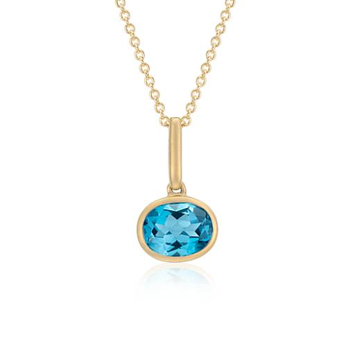 Blue Topaz Pendant in 14k Yellow Gold