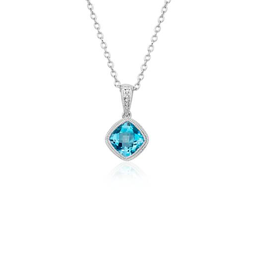 NEW Blue Topaz Cushion Milgrain Pendant in Sterling Silver (6mm)