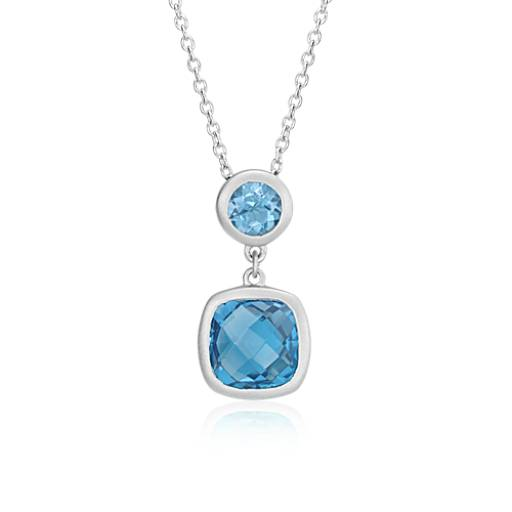 Blue Topaz Cushion Pendant in Satin-Finish Sterling Silver (8x8mm)