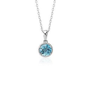 Blue Topaz Rope Pendant in Sterling Silver (7mm)