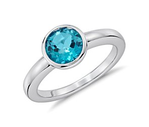 Blue Topaz Round Bezel-Set Ring in Sterling Silver