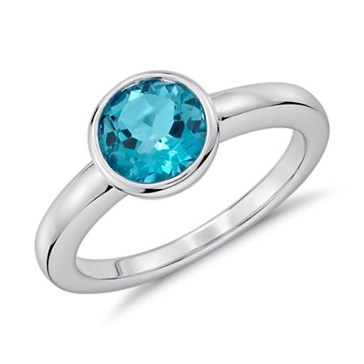 Blue Topaz Round Bezel-Set Ring in Sterling Silver (7mm)