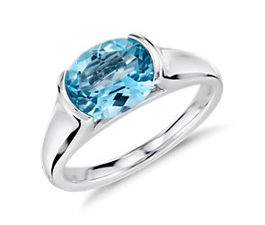 Blue Topaz Oval Ring in Sterling Silver