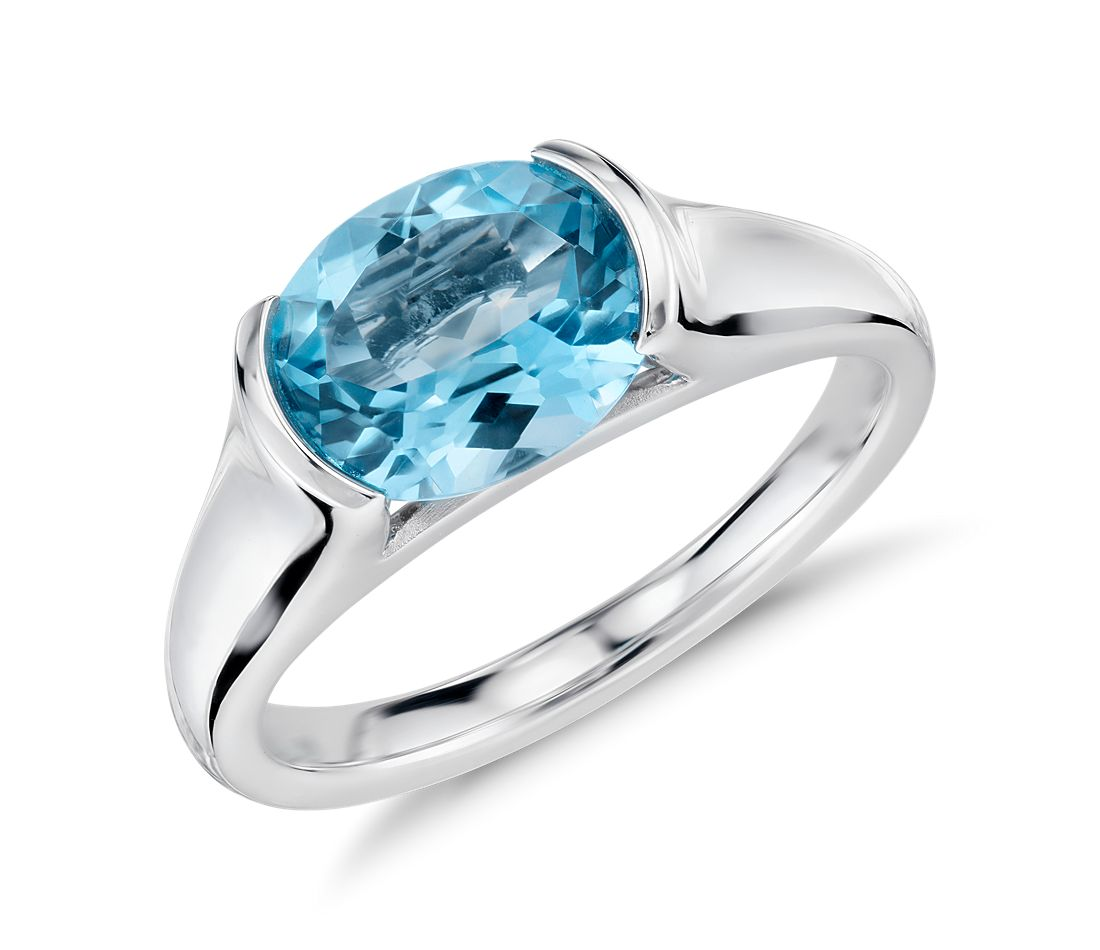 Blue Topaz Oval Ring in Sterling Silver (10x8mm)