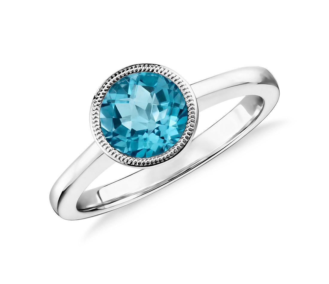 blue topaz round milgrain ring in sterling silver 7mm. Black Bedroom Furniture Sets. Home Design Ideas