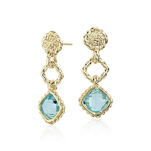 Blue Topaz Roped Dangle Earrings  in 14k Yellow Gold (8x8mm)
