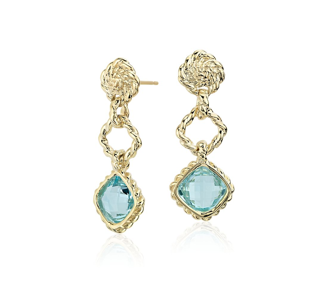 Blue Topaz Roped Dangle Earrings  in 14k Yellow Gold