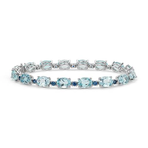 Blue Topaz and Sapphire Bracelet in 14k White Gold