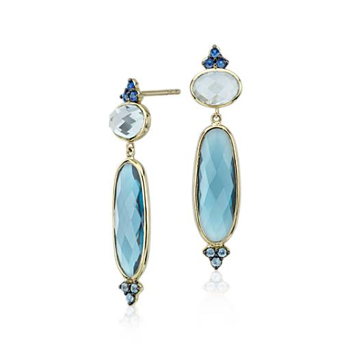 Elongated Blue Topaz Earrings in 18k Yellow Gold (18x6mm)